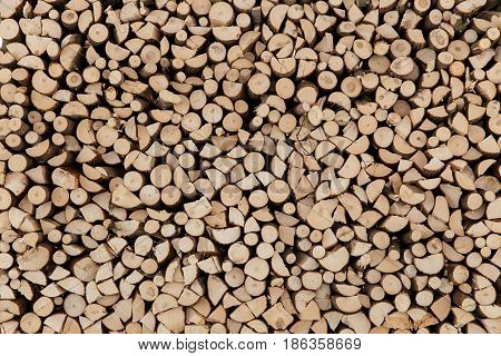 Wall Firewood, Background Of Dry Chopped Firewood Logs In A Pile.