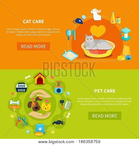 Bright horizontal banners with various accessories for pet care at home flat isolated vector illustration