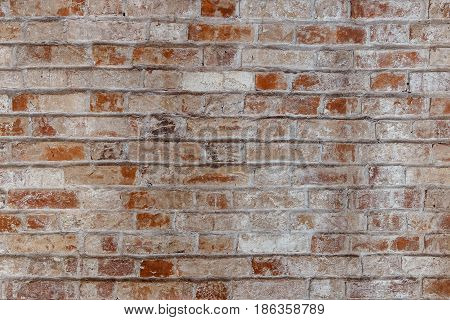 Empty Old Brick Wall Texture. Painted Distressed Wall Surface. Grungy Wide Brickwall.