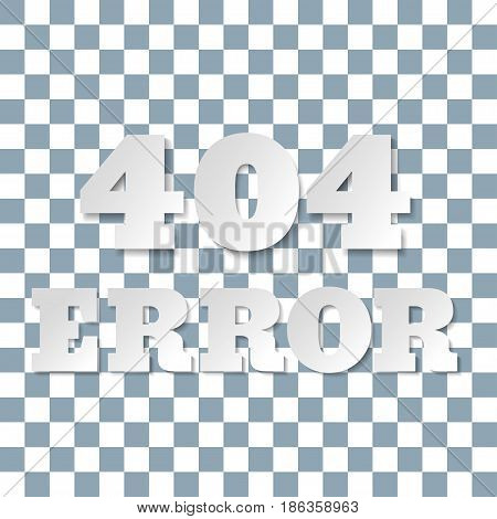 Error 404 page layout vector design. Paper letters and numbers. Vector illustration