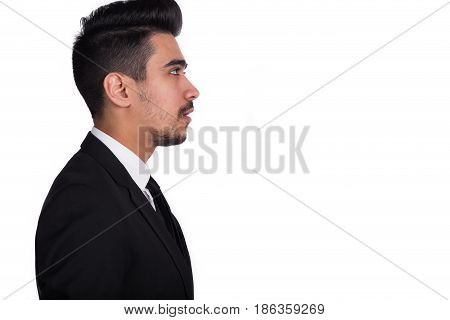 Shocked Man In Black Suit Isolated On White Background.