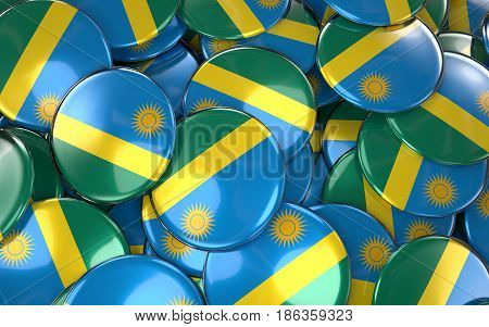 Rwanda Badges Background - Pile Of Rwanda Flag Buttons.