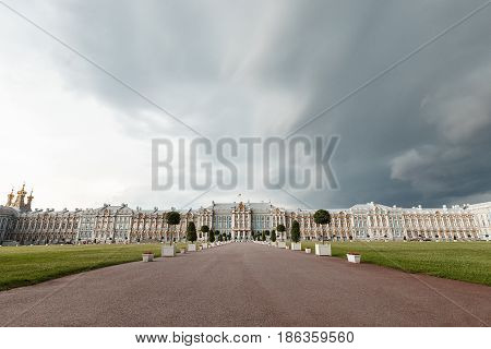 Saint Petersburg. Catherine Palace In Pushkin. The Facade Of The Palace. It's A Nasty Day.