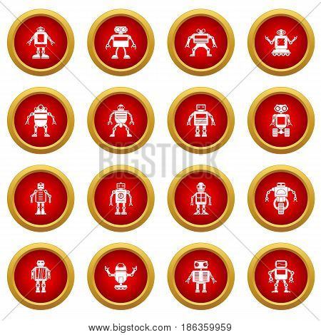 Robot icon red circle set isolated on white background