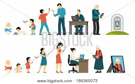 Generations development people evolution life ages digital gadget set of flat isolated human characters and gadgets vector illustration