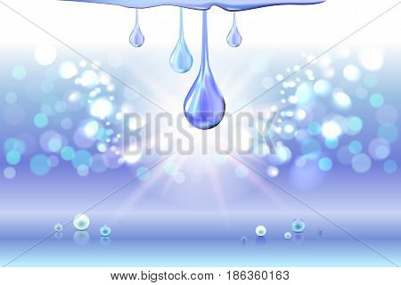 Blue cyan light shiny oil drops, pearls and empty place for objects. Gradient mesh. Cosmetic lotion or liquid. Vector illustration stock vector.