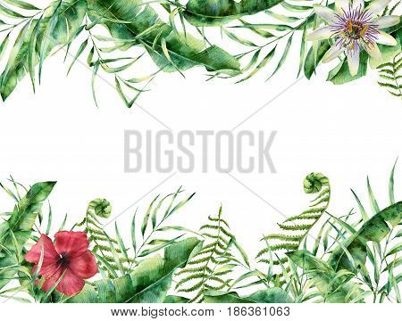 Watercolor tropical floral card. Hand painted summer frame with palm tree leaves, fern branch, banana and magnolia leaves, hibiscus flower isolated on white background. For design.