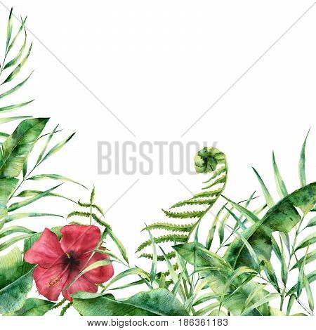 Watercolor exotic floral card. Hand painted tropic frame with palm tree leaves, fern branch, banana and magnolia leaves, hibiscus flower isolated on white background. For wedding and greeting design