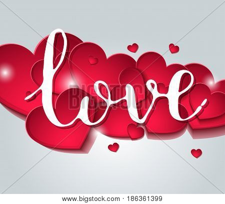 Handwritten Inscription Love Fine Feast On A Background Of Red Hearts.