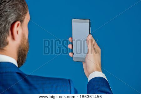 Businessman Or Man With Mobile Or Cell Phone