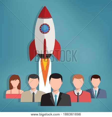 Group of business people with rocket behind them. Teamwork concept. Successful start up.