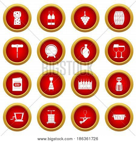 Wine icon red circle set isolated on white background