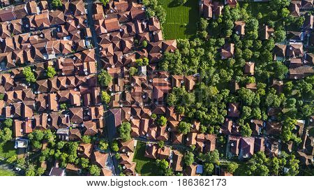 Aerial view of residential house with green trees in Majalengka West Java Indonesia