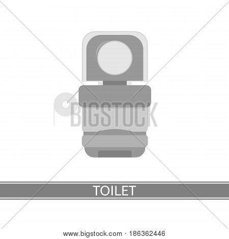 Camping portable toilet vector icon. Watercloset isolated on white background. Ecologic WC with toilet paper in flat design. Hiking potty for outdoor.