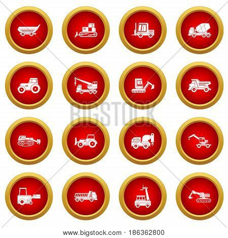 Building vehicles icon red circle set isolated on white background