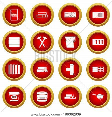 Building materials icon red circle set isolated on white background