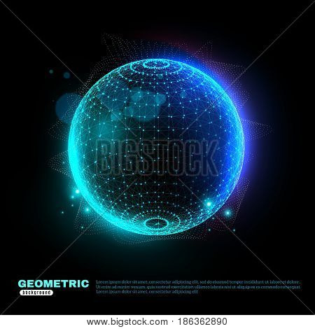 Digitally plotted sphere glowing with blue turquoise on black background poster scientific technology decorative shapes vector illustration