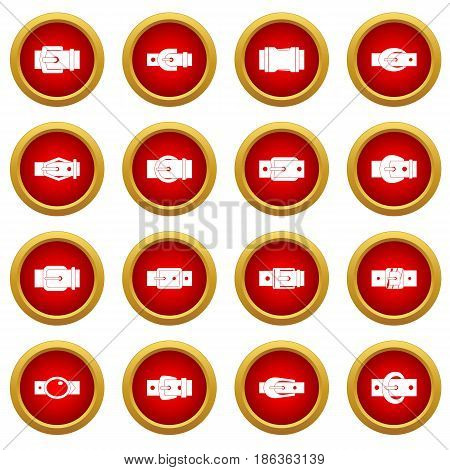 Belt buckles icon red circle set isolated on white background