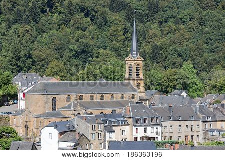 Aerial view at medieval city Bouillon with old church in Belgian Ardennes