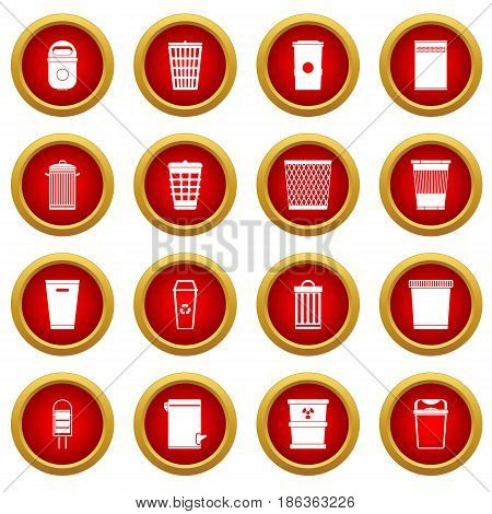 Trash can icon red circle set isolated on white background