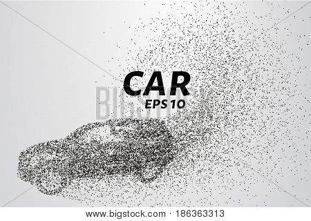 Car from the particles. The car consists of small circles and dots. Vector illustration