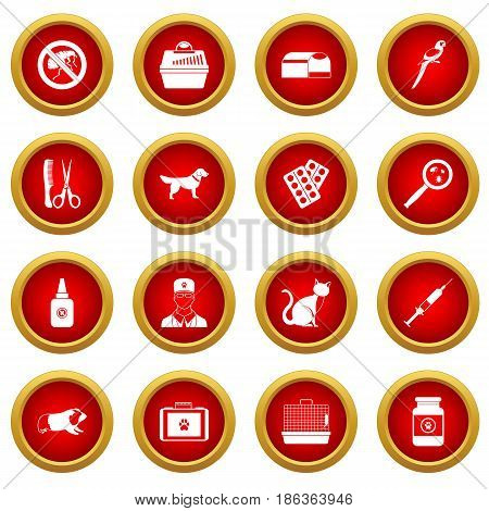 Veterinary icon red circle set isolated on white background