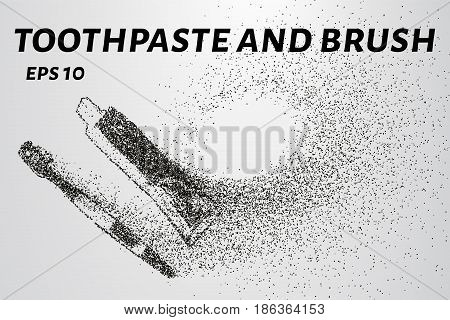 Toothbrush And Toothpaste Particles. Toothbrush And Toothpaste Consists Of Small Circles And Dots. V