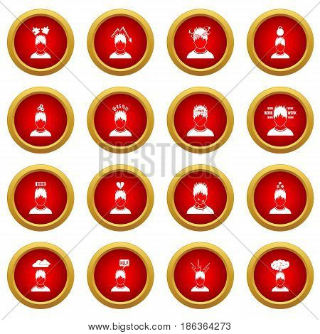 Stress icon red circle set isolated on white background