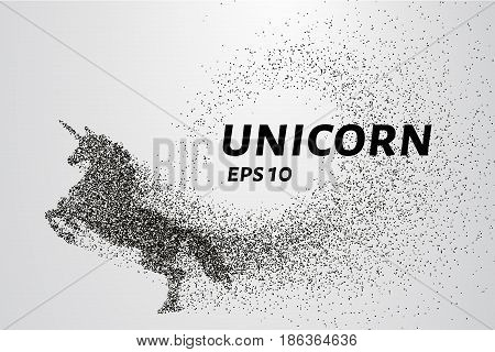 The Unicorn Of The Particles. Unicorn Consists Of Small Circles And Dots. Vector Illustration.