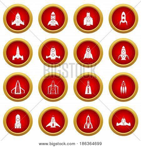 Rocket icon red circle set isolated on white background