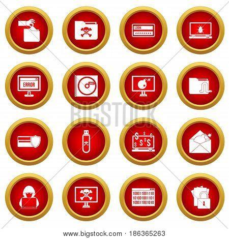 Criminal activity icon red circle set isolated on white background