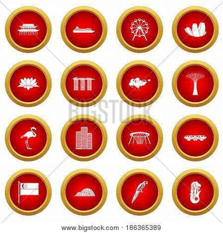 Singapore icon red circle set isolated on white background