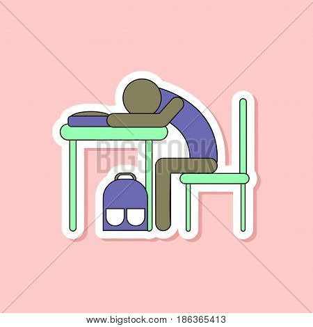 paper sticker on stylish background of student sleeping at the desk