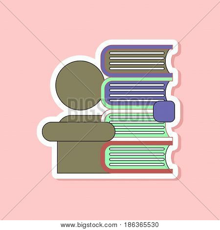 paper sticker on stylish background of schoolboy books