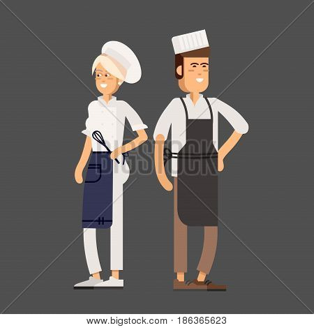 Cool vector flat design culinary and cuisine professionals. Smiling restaurant chef kook with assistants silhouettes isolated. Catering cuisine staff characters