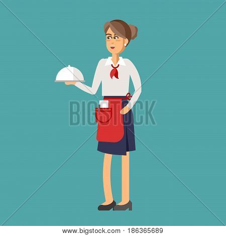Restaurant waitress character design flat vector illustration.