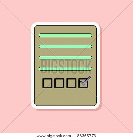 paper sticker on stylish background of checklist questionnaire