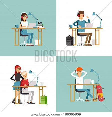 Creative people working in co working office. young adult man amd woman working on idea behind they desk listening music. Freelance workers at co-working space