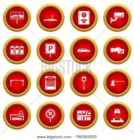 Car parking icon red circle set isolated on white background