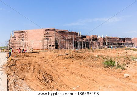 Construction shopping mall buildings industrial earthworks landscape.