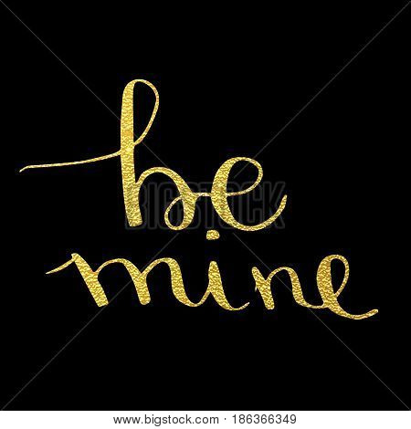 Be Mine Text Calligraphy Drawn On Valentine's Day Greeting Card