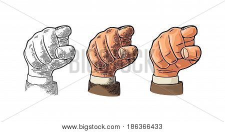 Female hand in sleeve suit showing a fig sign. Vector color vintage engraved and flat illustration isolated on a white background. Hand sign for web, poster, info graphic