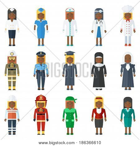 Multicultural ethnic people woman professional. Flat vector cartoon illustration. Objects isolated on a white background.