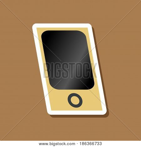 paper sticker on stylish background mp3 player