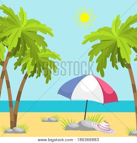 Summer time beach sea shore realistic background vector illustration. Sunshine travel hot season decoration holiday vacation beautiful graphic paradise concept.