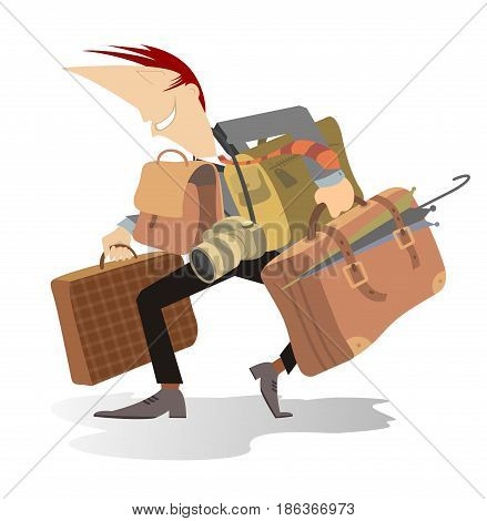 Man with a big luggage is going to go to a business trip or a travel
