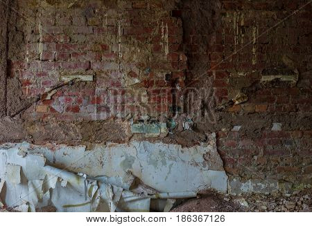 The Old And Ruined Brick Wall With Plaster, Lost Places