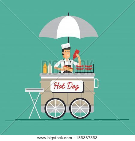 Creative detailed vector street grilled cart or hot dog street cart with seller.