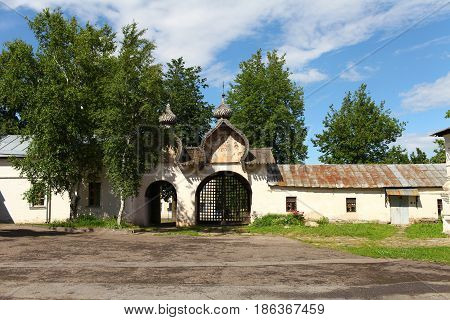 Veliky Novgorod Russia June 19 2013 courtyard of an Orthodox monastery