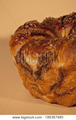 Crusty cake with cinnamon roasted crust texture macro shot